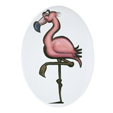 Cute Flamingo yard Oval Ornament