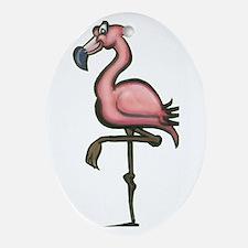 Cute Pink flamingo yard Oval Ornament