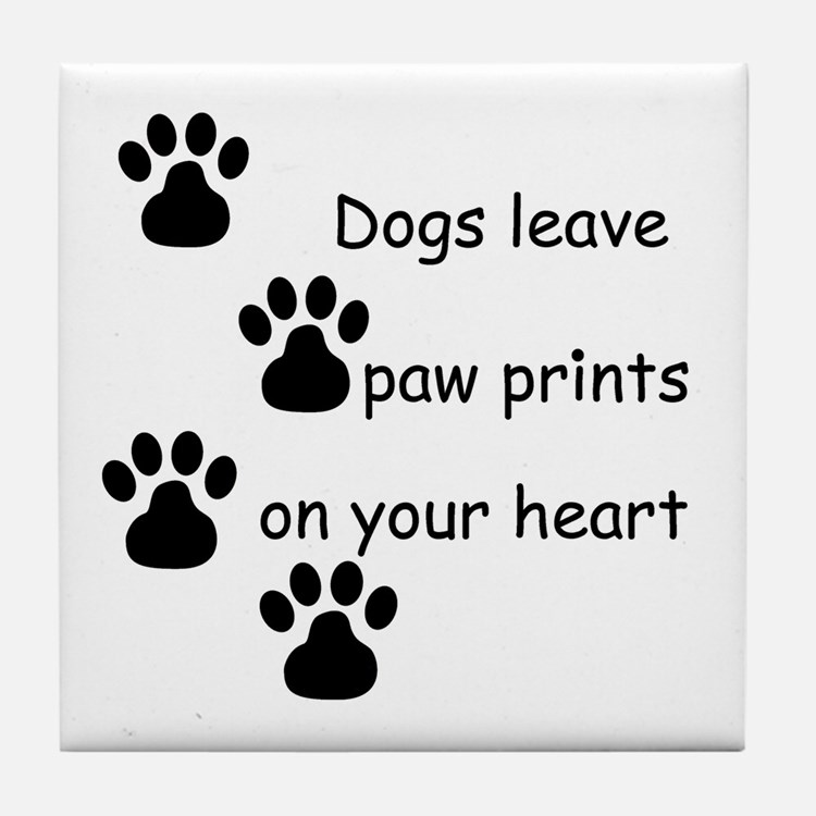 Dog Prints Tile Coaster
