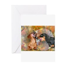 Candy Stars Dachshund Dogs Greeting Card