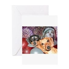 4th of July Dachshund Dogs Greeting Card