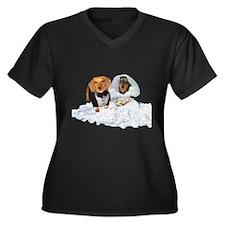 Wedding Dachshunds Dogs Women's Plus Size V-Neck D