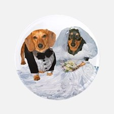 "Wedding Dachshunds Dogs 3.5"" Button"
