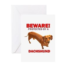 Caution Protected by a Dachsh Greeting Card