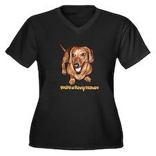 You're Funny Dachshund Dog Women's Plus Size V-Nec