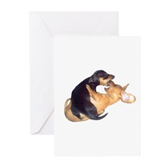 Yin Yang Color Dachshunds Greeting Cards (Pk of 20