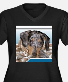 Speckled Dachshund Dogs Women's Plus Size V-Neck D