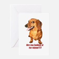 Looking at My Wiener Dachshun Greeting Card
