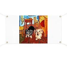 Double Dachshunds Van Gogh Banner