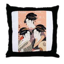 Utamaro's Three Japanese Beau Throw Pillow