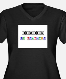 Reader In Training Women's Plus Size V-Neck Dark T