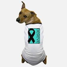 Turquoise (Believe) Ribbon Dog T-Shirt