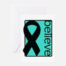 Turquoise (Believe) Ribbon Greeting Card