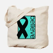 Turquoise (Believe) Ribbon Tote Bag