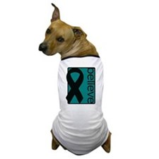 Teal (Believe) Ribbon Dog T-Shirt