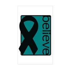 Teal (Believe) Ribbon Rectangle Decal
