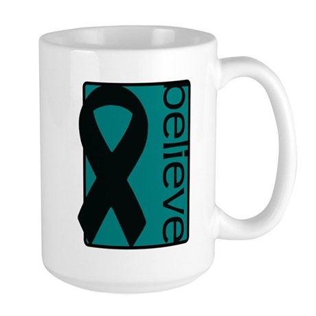 Teal (Believe) Ribbon Large Mug
