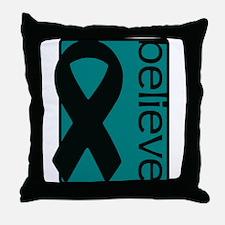 Teal (Believe) Ribbon Throw Pillow