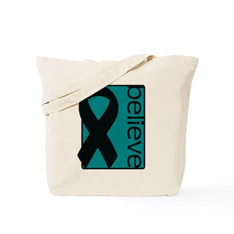 Teal (Believe) Ribbon Tote Bag