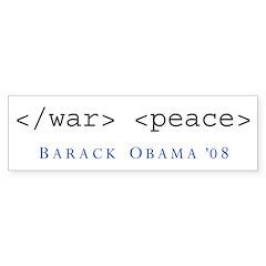 End War Begin Peace Bumper Bumper Sticker