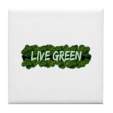 Live Green Bushes Tile Coaster
