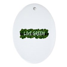 Live Green Bushes Oval Ornament