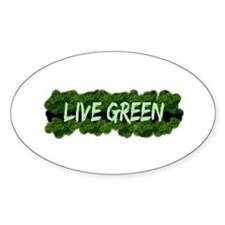 Live Green Bushes Oval Decal
