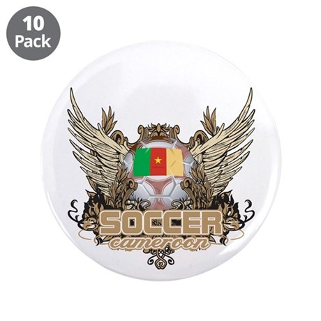 """Soccer Cameroon 3.5"""" Button (10 pack)"""
