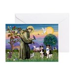 St Francis & 2 Tri Aussies Greeting Cards (Package
