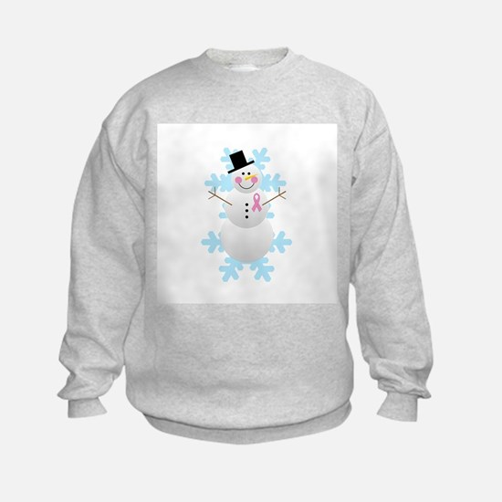 Breast Cancer Awareness Pink Ribbon Snowman Sweatshirt