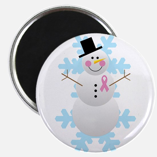 Breast Cancer Awareness Pink Ribbon Snowman 2.25""