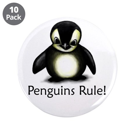 "Penguins Rule! 3.5"" Button (10 pack)"