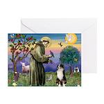 St Francis & Australian Shepherd Greeting Cards (P