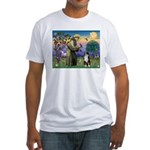 St Francis & Australian Shepherd Fitted T-Shirt