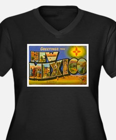 New Mexico NM Women's Plus Size V-Neck Dark T-Shir
