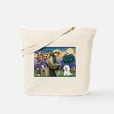 St Francis / Bichon Frise Tote Bag