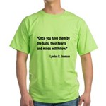 Johnson Hearts and Minds Quote Green T-Shirt