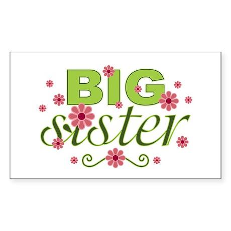 Big Sister Garden Flowers Rectangle Sticker