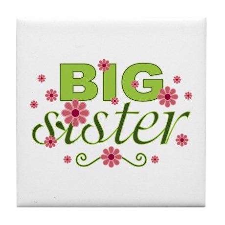 Big Sister Garden Flowers Tile Coaster