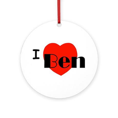 I Love Ben Round Ornament