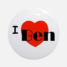 I Love Ben Round Ornament