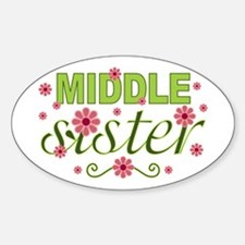 Middle Sister Garden Flowers Oval Decal
