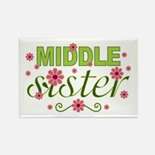 Middle Sister Garden Flowers Rectangle Magnet