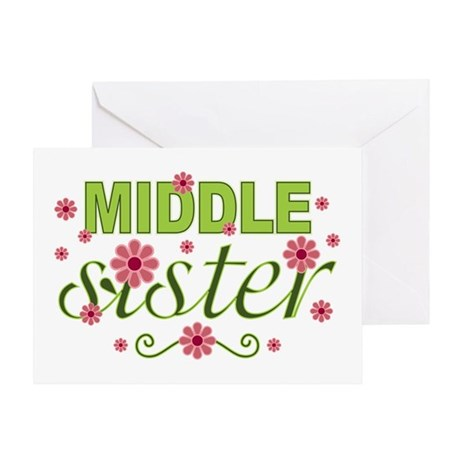 Middle Sister Garden Flowers Greeting Card