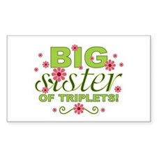 Big Sister of Triplets Rectangle Decal