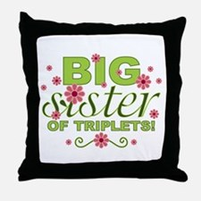 Big Sister of Triplets Throw Pillow