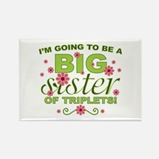 Big Sister To Be Triplets Rectangle Magnet