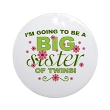 Big Sister To Be Twins Ornament (Round)