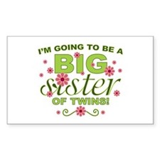 Big Sister To Be Twins Rectangle Decal