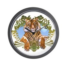 Fierce Siberian Tiger Crest Wall Clock